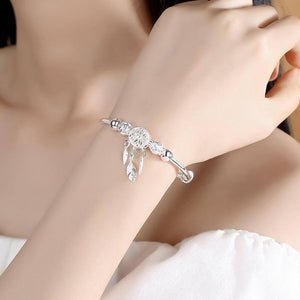 925 Sterling Silver Dreamcatcher Tassel Feather Charm Bracelet &Bangle For Women Fashion Elegant Jewelry Accessories  sl209