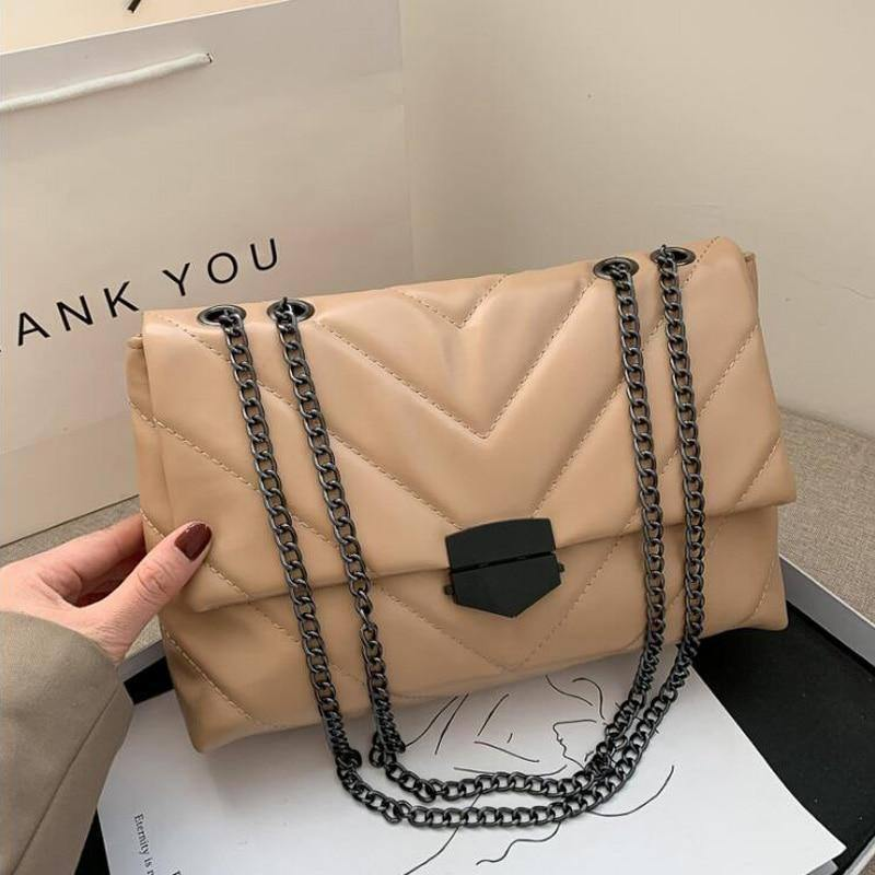 New Casual Chain Crossbody Bags For Women Fashion Simple Shoulder Bag Ladies Designer Handbags PU Leather Messenger Bags | akolzol