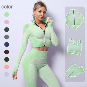 2/3PCS Seamless Women Yoga Set Workout Sportswear Gym Clothing Fitness Long Sleeve Crop Top High Waist Leggings Sports Suits | akolzol