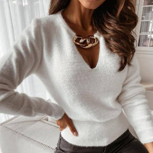 Sexy Hollow Out Deep V Neck Metal Chain Blouse Autumn Long Sleeve Solid Ribbed Knitted Tops Office Lady Elegant Slim Shirt Blusa