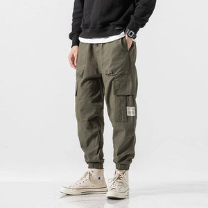 Cargo Pants Men Streetwear Hip hop Pants Mens Joggers Pants Casual Harem Ankle length Trousers Elastic waist Black Army green