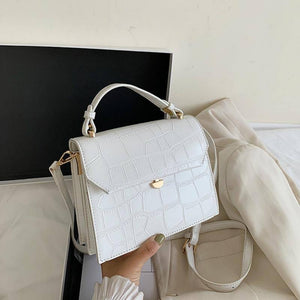 SWDF Stone Patent White Crossbody Bags For Women 2021 Small Handbag Small Bag PU Leather Hand Bag Ladies Designer Evening Bags | akolzol