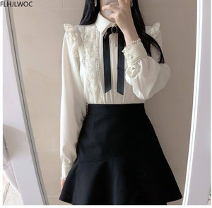 Ruffled Autumn Spring Basic Office Lady Work Wear Women Single Breasted Button Solid Peter Pan Collar Top White Shirts Blouses | akolzol