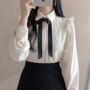 Ruffled Autumn Spring Basic Office Lady Work Wear Women Single Breasted Button Solid Peter Pan Collar Top White Shirts Blouses