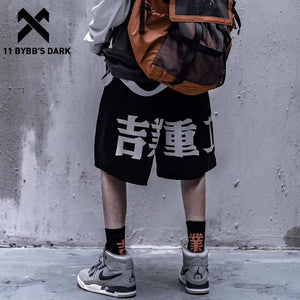 11 BYBB'S DARK Techwear Style Print Hip Hop Pants Men 2020 Summer Streetwear Loose Cargo Shorts Cotton Jogger Streetpants Black