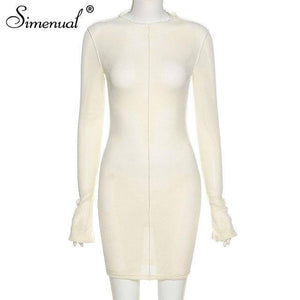 Simenual Mesh Skinny Women Mini Dresses Spring Fashion 2021 Clubwear Bodycon Solid Hollow Out Party Dress Sexy Birthday Clothing |  | akolzol