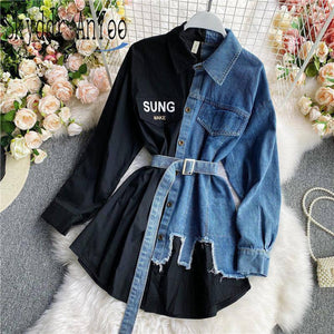 Women's Blouse 2020 Autumn Long Sleeve Shirt Tops Jeans Patchwork Plaid Blouses Elegantes Blusas para mujer Slim Shirt Dress | akolzol