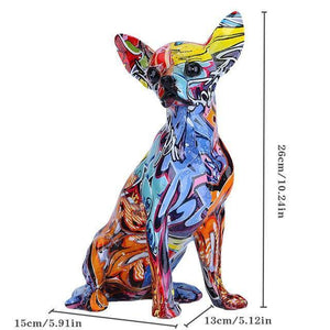 Simple Creative Color Bulldog Chihuahua Dog Statue Living Room Ornaments Home Entrance Wine Cabinet Office Decors Resin Crafts | akolzol
