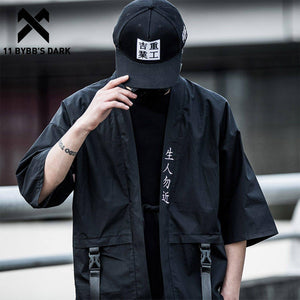 11 BYBB'S DARK Harajuku Open Stitch Jackets Men Hip Hop Thin Coats 2020 Ribbons Japanese Style Male Seven-cent Sleeve Streetwear | akolzol