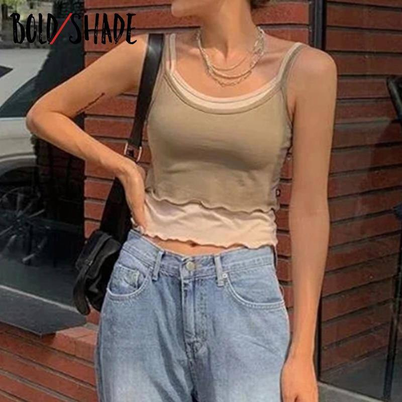 Bold Shade Streetwear 90s Fashion Strap Camis Women Patchwork Y2K Indie Aesthetic Vintage Tank Tops 2021 Skinny Ribbed Crop Top | akolzol