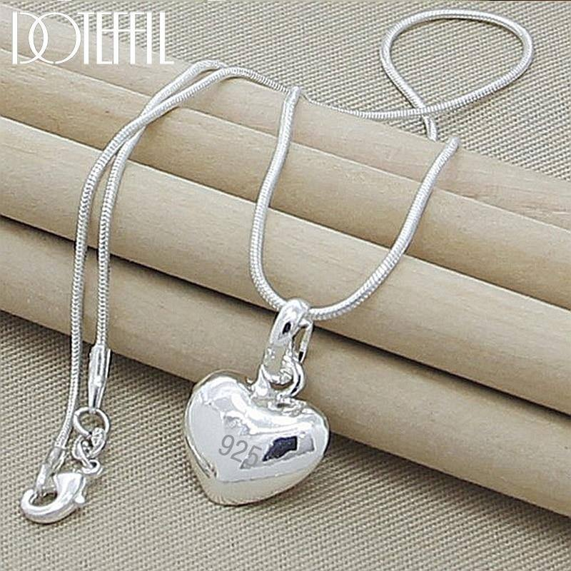 925 Sterling Silver Solid Heart Pendant Necklace 18/20/22/24 Inch Snake Chain For Women Wedding Charm Fashion Jewelry | akolzol
