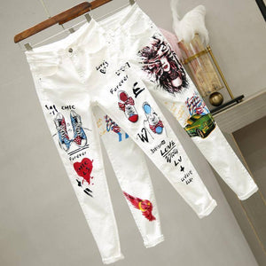 plus Size Women White Denim Jeans Cartoon Graffiti Flowers Print Stretched Hallen Jeans Pencil Pants Autumn Skinny Jeans LU1271 | akolzol