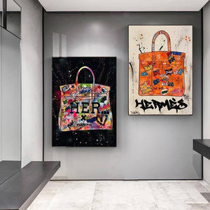 Modern Fashion Bag Canvas Painting Abstract Graffiti Art Posters and Prints Cuadros Wall Art Pictures for Living Room Home Decor |  | akolzol
