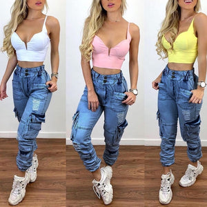 Plus Size High Waist Boyfriend Jeans Women 2020 Fall Winter ClothesWater Washed Harem Cargo Denim Pants Vintage Mom Jeans |  | akolzol