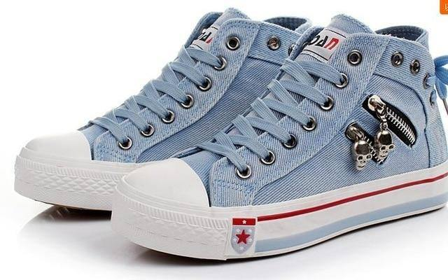 Women Fashion Sneakers Denim Canvas Shoes Spring/Autumn Casual Shoes Trainers Walking Skateboard Lace-up Shoes Femmes | akolzol