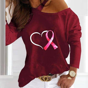 Women Sexy Elegant Halter Blouse Shirt Heart Shape Print Long Sleeve Casual Tops Pullovers Lady Autumn Off Shoulder Blouses