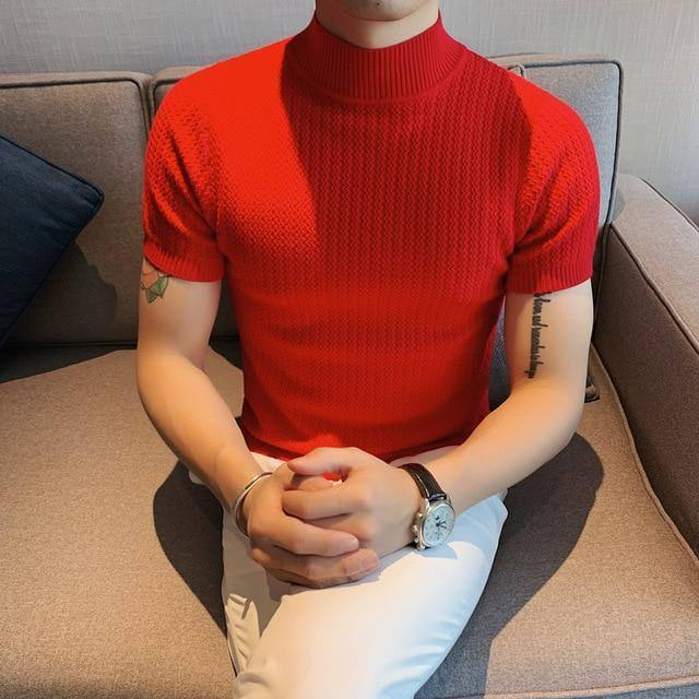 Spring New 2021 Short Sleeve Knitted Sweater Men Clothing Solid All Match Slim Fit Stretched Turtleneck Casual Pullovers 5Colors | akolzol