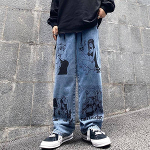 Vintage Washed Jeans Women Streetwear Jeans Harajuku Cartoon Anime Print Jeans Fashion Man Jeans Loose Wide Leg Pants Cotton