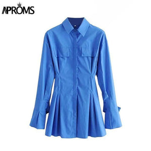 Aproms Elegant Blue Cotton Shirt Dress Women Spring 2021 High Fashion Solid Color Flared Sleeve Bodycon Mini Dresses OL Vestidos |  | akolzol