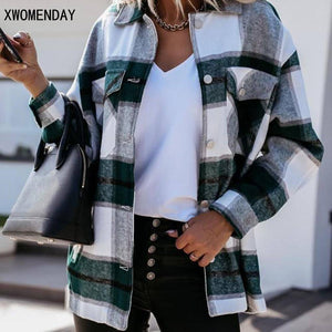 Shirts For Women Plaid Long Sleeve Button Up Shirt Collared Tops And Blouse 2021 Autumn Spring Fashion Loose Casual Black White | akolzol