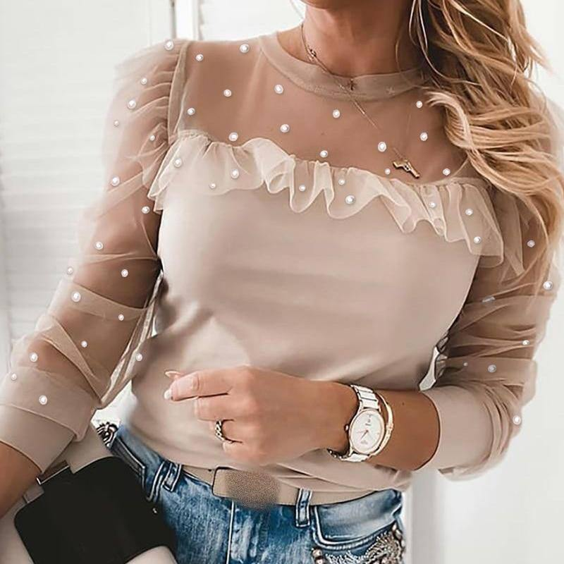 Lace Long Puff Sleeve Women's Blouse Patchwork Printed Leopard Pearl O-neck Female Thin Top 2021 Spring Fashion Lady Blouses | akolzol