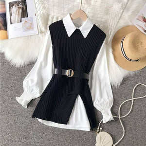 2021 spring autumn women's lantern sleeve shirt knitted vest two piece sets of College style waistband vest two sets top UK900 | akolzol
