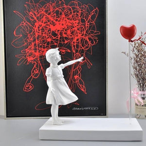 Girl and Heart Balloon Inspired by Banksy Artwork Modern Sculpture Home Decoration Statue House Decor England Art Nordic Style |  | akolzol