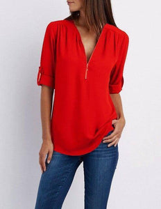 Summer Women Chiffon Blouses Elegant V Neck Roll Up Long Sleeve Zipper Tunic Tops Casual Loose Blue Shirts Female 5XL Plus Size