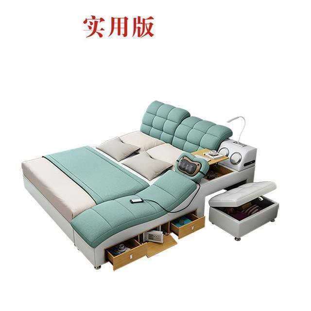 Bedroom Furniture Tatami Bed Modern Simple Massage Can Be Removed and Washed Cloth Bed 1.8m Master Multi-functional Double Bed |  | akolzol
