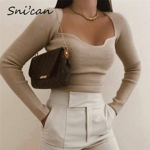 Snican Solid Sqaure Collar Sweater Bodycon Slim Sexy Pullover Fashion Women Long Sleeve Za Pull Femme Spring 2021 Ladies Tops |  | akolzol