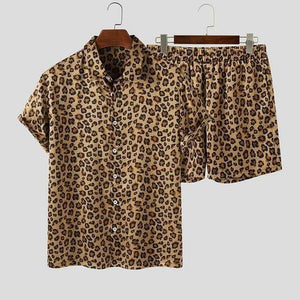 2021 Men Sets Leopard Printed Lapel Short Sleeve Shirt Beach Shorts Streetwear Hawaiian Casual Men Suits 2 Pieces S-5XL INCERUN |  | akolzol