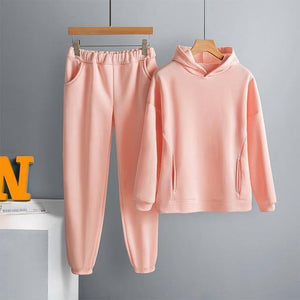 Two Piece Set Casual Fleece Tracksuit Women Winter 2021 Women's Sets Oversized Hooded Long Sleeve Hoodie Sport Pants Lady Suit |  | akolzol