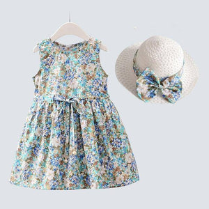 2PCS/Set Girls Dress +Hat Cotton Comfortable Children's Dress 2021 Summer Dress Floral Girls' Sleeveless Dress For Children |  | akolzol