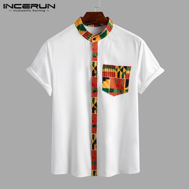 INCERUN Summer Ethnic Style Printed Shirt Men Short Sleeve 2021 African Clothes Dashiki Tops Stand Collar Streetwear Camisa 3XL |  | akolzol