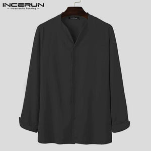 INCERUN Fashion Men Brand Shirt Solid Long Sleeve V Neck Chic Button Casual Blouse 2021 Streetwear Korean Style Shirts Camisas | akolzol