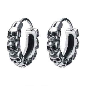 ZS 1 Pair Punk Rock Round Earrings Fashion Stainless Steel Ear Ring Skull Surgical Steel Earrings for Men Women Pop Ear Piercing