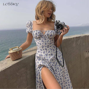 Dress Summer Fashion White Elegant Ladies Backless Clothes Puff Sleeve Floral Print Slit Long Dresses For Women New Arrival 2021