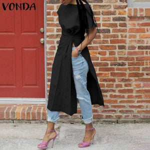 Short Sleeve Sexy Split Shirts Women Asymmetrical Blouse 2021 VONDA Fashion Tops Female Casual Blusas Femininas Plus Size Shirts | akolzol