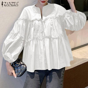 ZANZEA Fashion Women Long Puff Sleeve Solid Shirt 2021 Spring Ruffles Blouse Femininas Party Work Blusas Mujer Korean Style Tops |  | akolzol