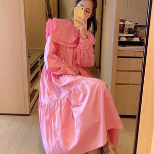 2021 Spring Women Dress Princess Style Peter Pan Collar Long Sleeve Ruffles Lantern Sleeve Cotton Dresses Fashionable Clothes |  | akolzol