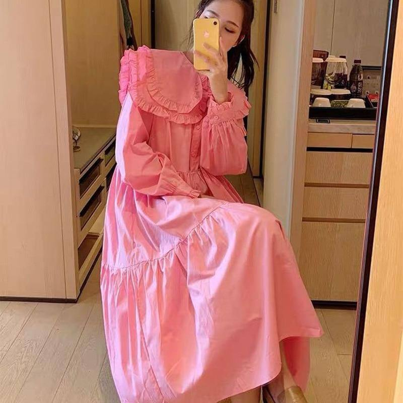 2021 Spring Women Dress Princess Style Peter Pan Collar Long Sleeve Ruffles Lantern Sleeve Cotton Dresses Fashionable Clothes | akolzol