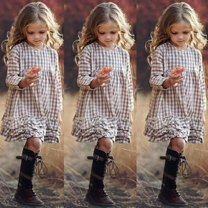 2021 Girls INS Plaid Fashion Dress Big Kids Autumn Long Sleeve Princess Lace Dresses Children's 3-12Y Ruffled Clothes Dress |  | akolzol