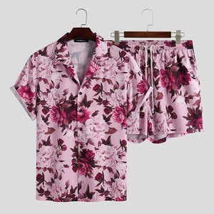 INCERUN Men Sets Flower Printed Vacation Breathable Beach Lapel Short Sleeve Shirt Shorts Streetwear Men Hawaiian Suits 2 Pieces |  | akolzol