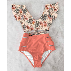 High Waist Bikini 2021 Ruffle Swimwear Women Print Sexy Swimsuit Push Up Bikinis Plus Size Bathing Suits Floral Beach Wear