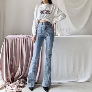 Spring Autumn winter new European and American style high waist stretch horn jeans women, Slim long legs solid color jeans women |  | akolzol