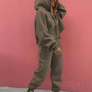 Loose Sport Women's Tracksuit Suit Drawstring Hooded Short Pullover Female 2 Piece Sets 2021 Fashion Streetwear Casual Lady Set