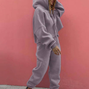 Loose Sport Women's Tracksuit Suit Drawstring Hooded Short Pullover Female 2 Piece Sets 2021 Fashion Streetwear Casual Lady Set | akolzol
