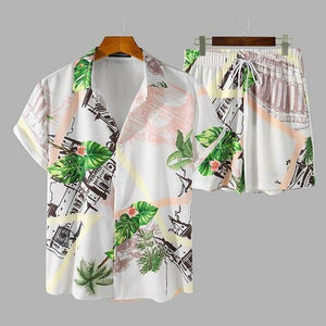 Summer Men Hawaiian Sets Printed Breathable Lapel Short Sleeve Shirt Beach Shorts Streetwear Casual Men Sets 2 Pieces INCERUN |  | akolzol