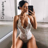 Cryptographic Backless Halter Lace Bodysuit Transparent Female Body Hot Sexy Teddies 2021 Jumpsuits Women Deep V Sheer Bodysuits | akolzol