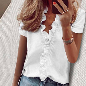 Summer Tops Ladies Blouse Short Sleeves Office Lady Women's Clothing V-Neck Solid New Fashion Ruffles Casual Print Female Shirt